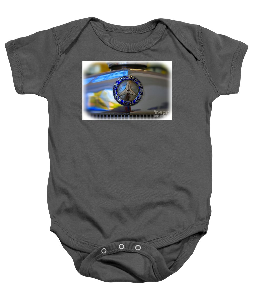 1939 Baby Onesie featuring the photograph 39 Mercedes-benz Logo by Tommy Anderson