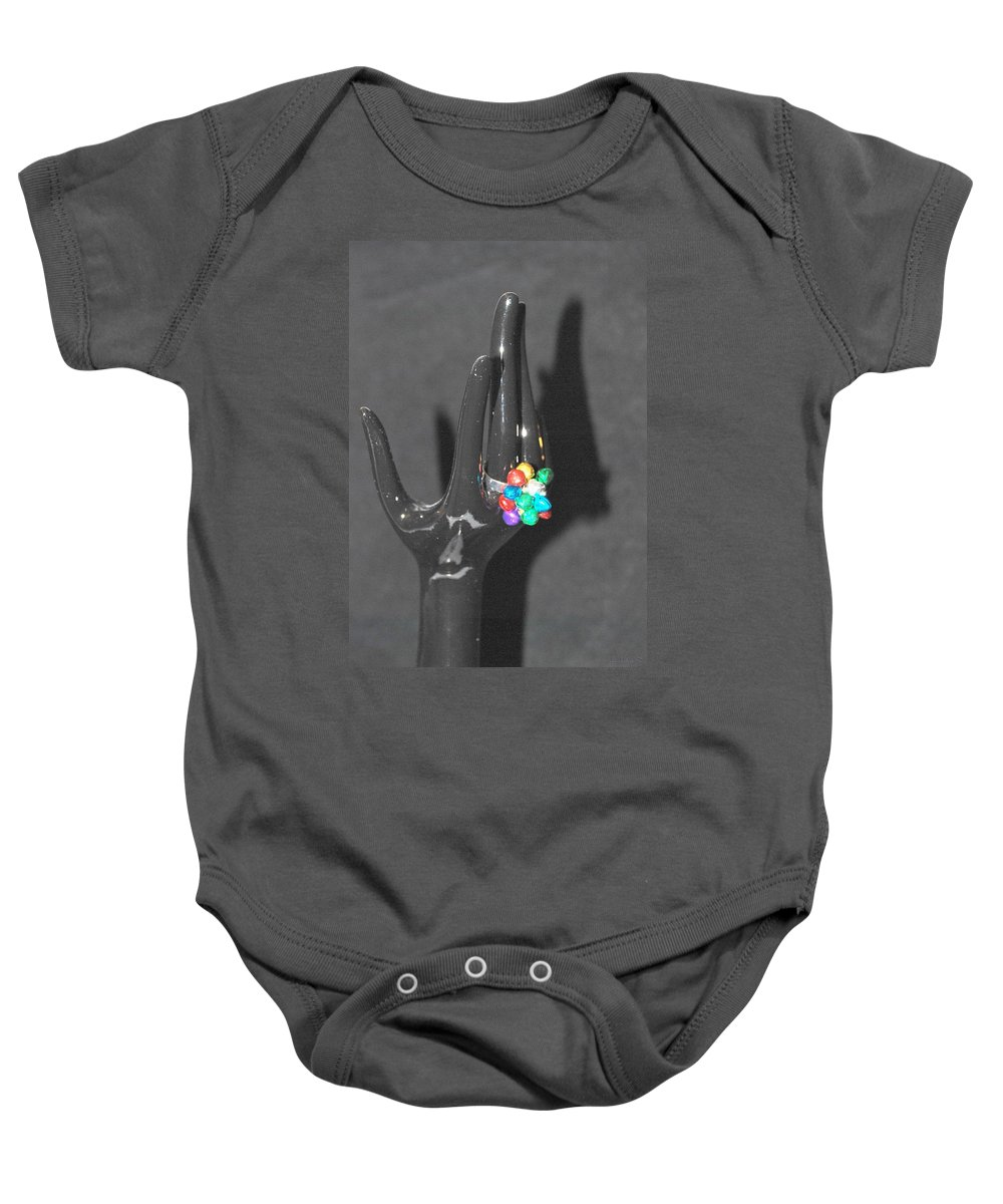 Hand Baby Onesie featuring the photograph The Black Hand by Rob Hans