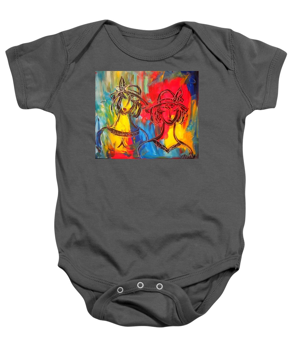 Baby Onesie featuring the painting Two Girls by Mark Kazav