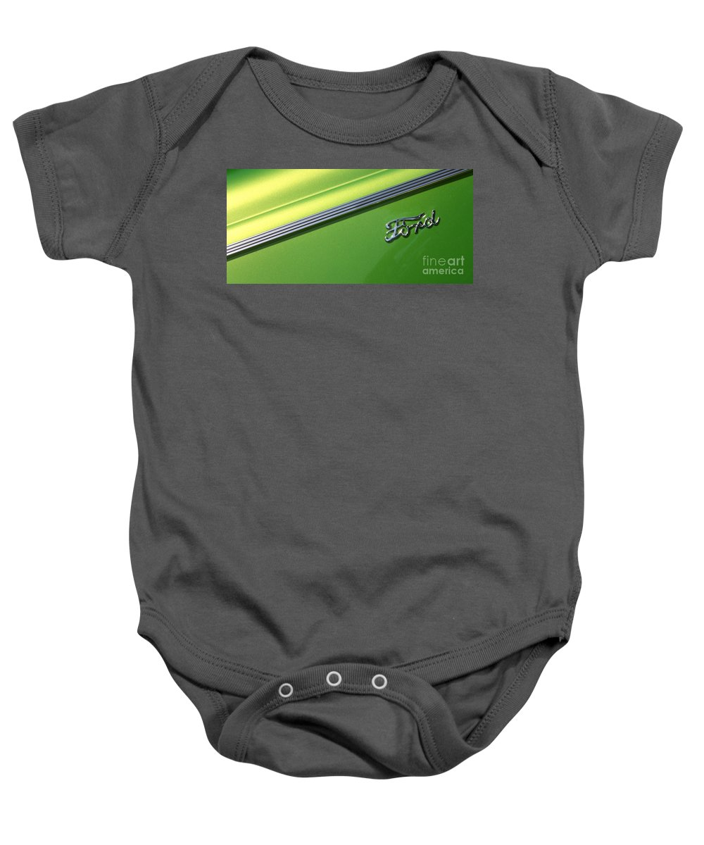 1940 Baby Onesie featuring the photograph 40 Ford - Logo-8589 by Gary Gingrich Galleries