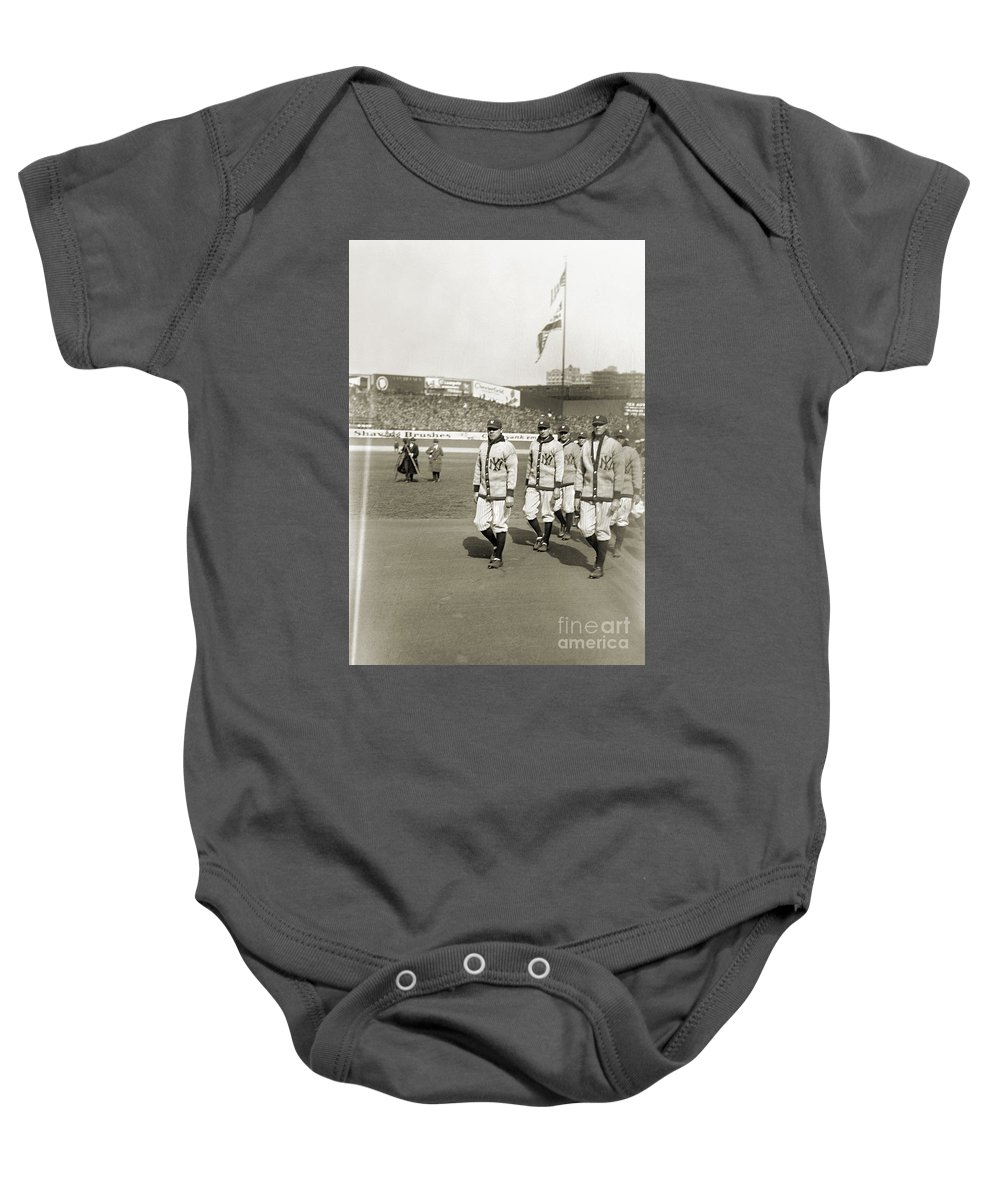 1923 Baby Onesie featuring the photograph George H. Ruth (1895-1948) by Granger