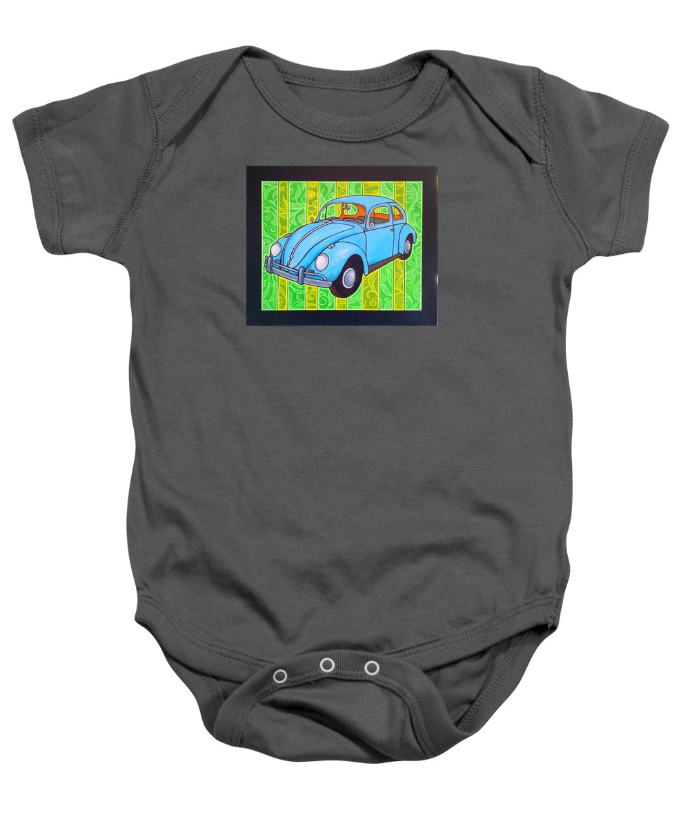 Beetle Baby Onesie featuring the painting A Beetle Remembered by Jim Harris
