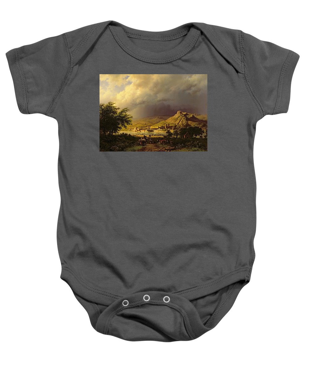 Landscape; Stormy; Weather; Mountain; Mountainous; River; Town; Riverbank; Cow; Horse; Storm Cloud; Tree; Trees Baby Onesie featuring the painting A Coming Storm by Barend Cornelis Koekkoek