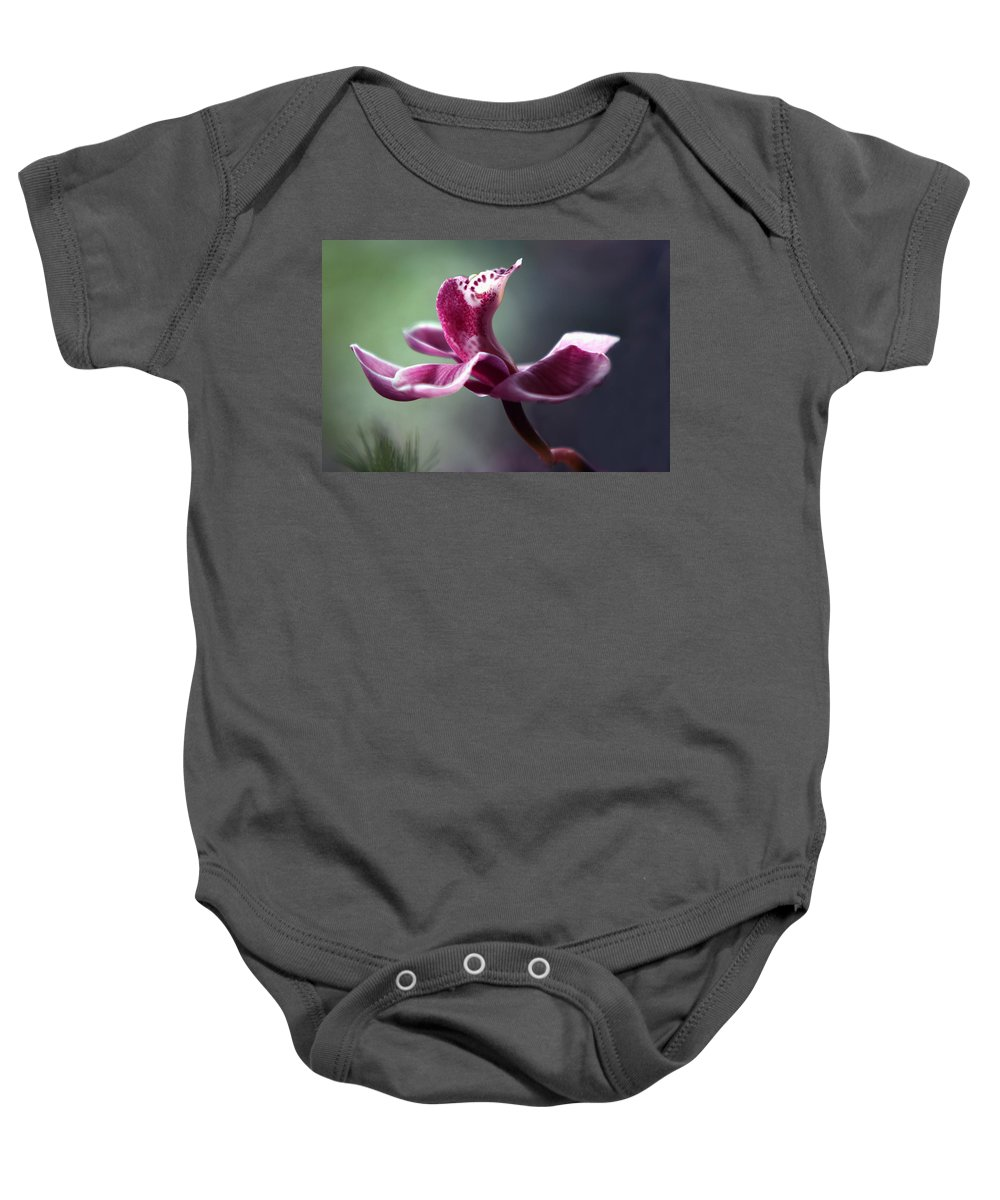 Orchid Baby Onesie featuring the photograph A Cup Of Ambrosia by Marion Cullen
