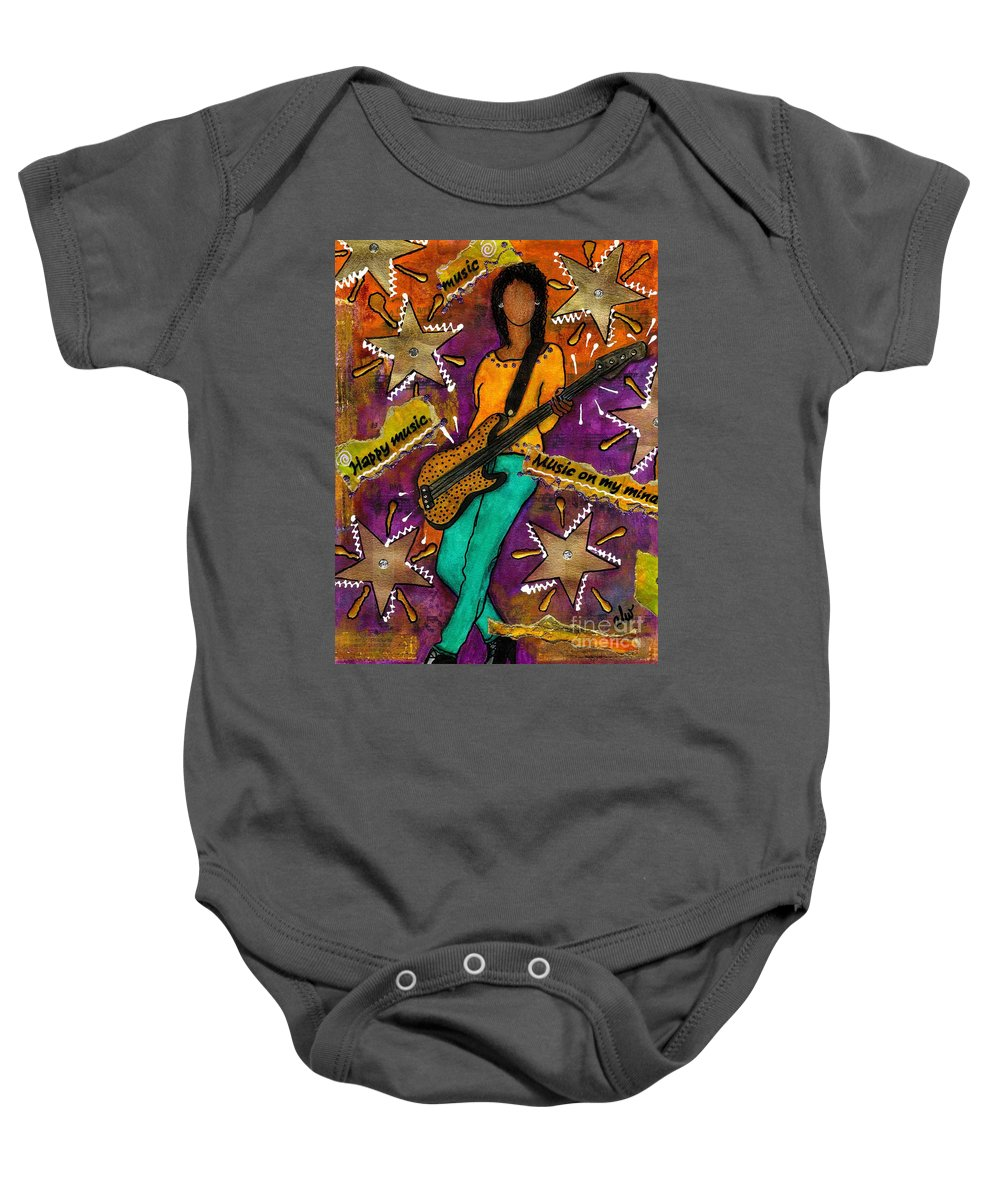 Woman Baby Onesie featuring the mixed media A Student Of The Jam by Angela L Walker