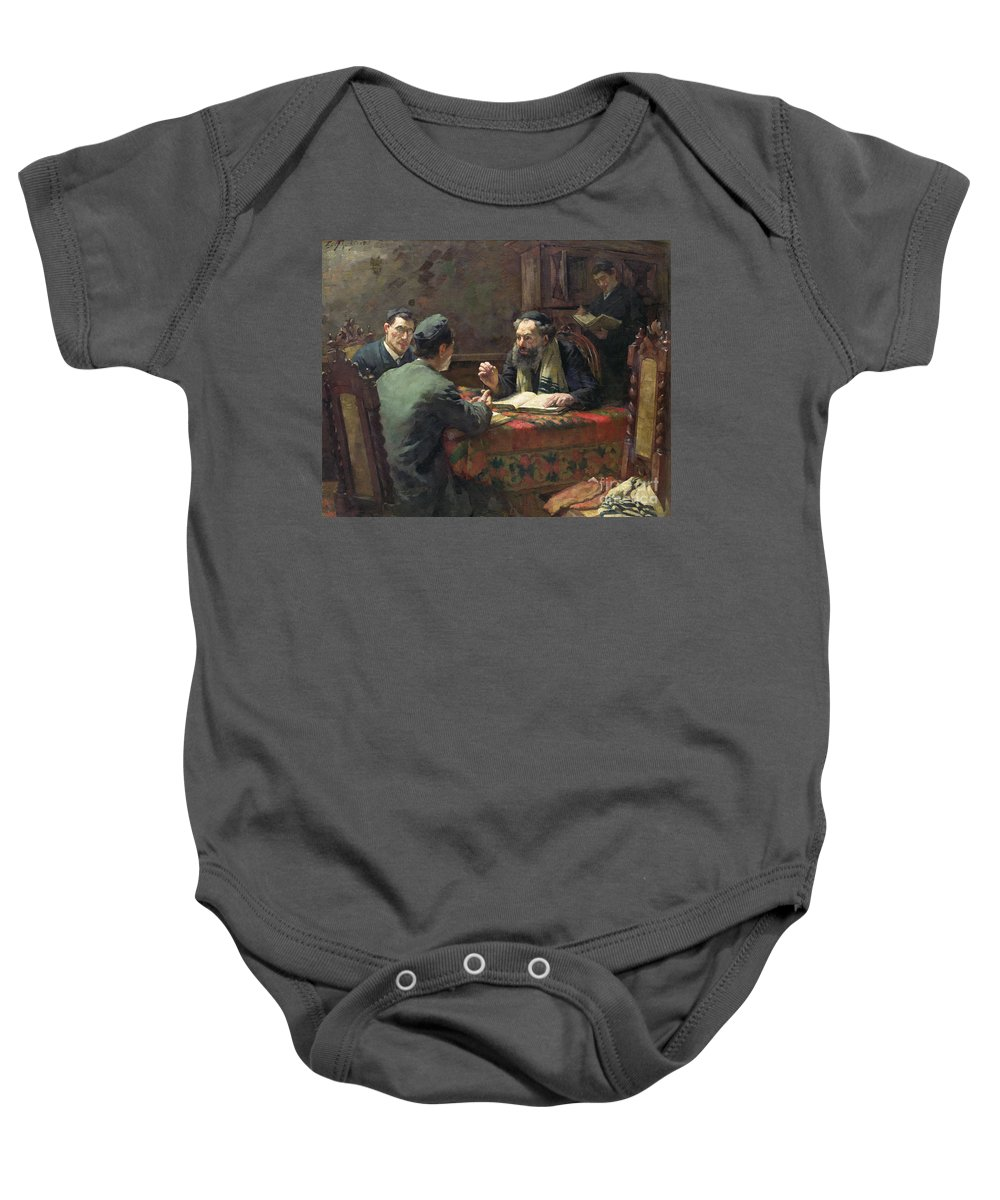 Interior; Jewish; Rabbi; Discussion; Talking; Religious Skull-cap; Religion Baby Onesie featuring the painting A Theological Debate by Eduard Frankfort