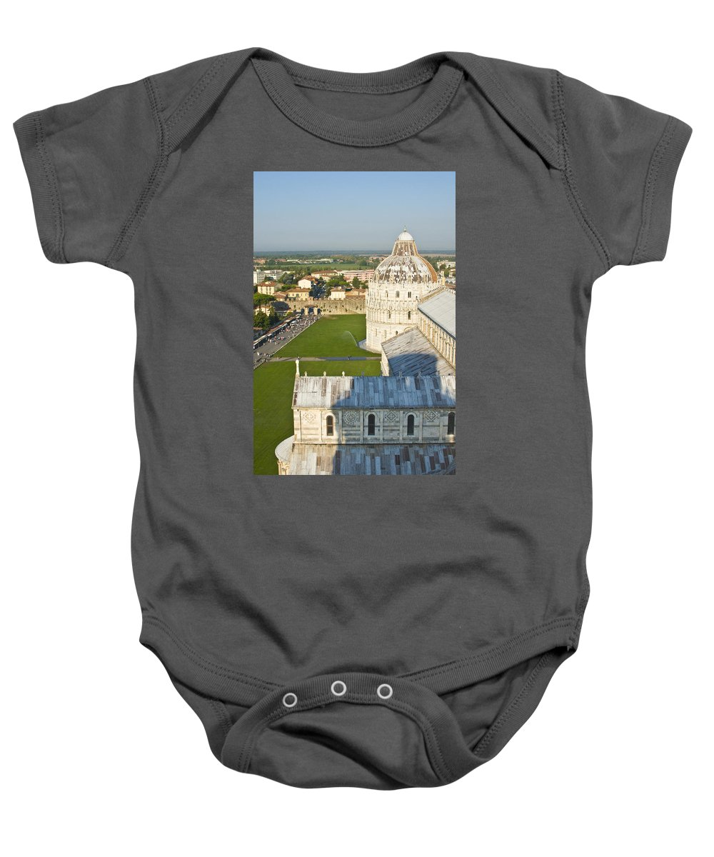 Leaning Tower Baby Onesie featuring the photograph A View From The Bell Tower Of Pisa by Richard Henne