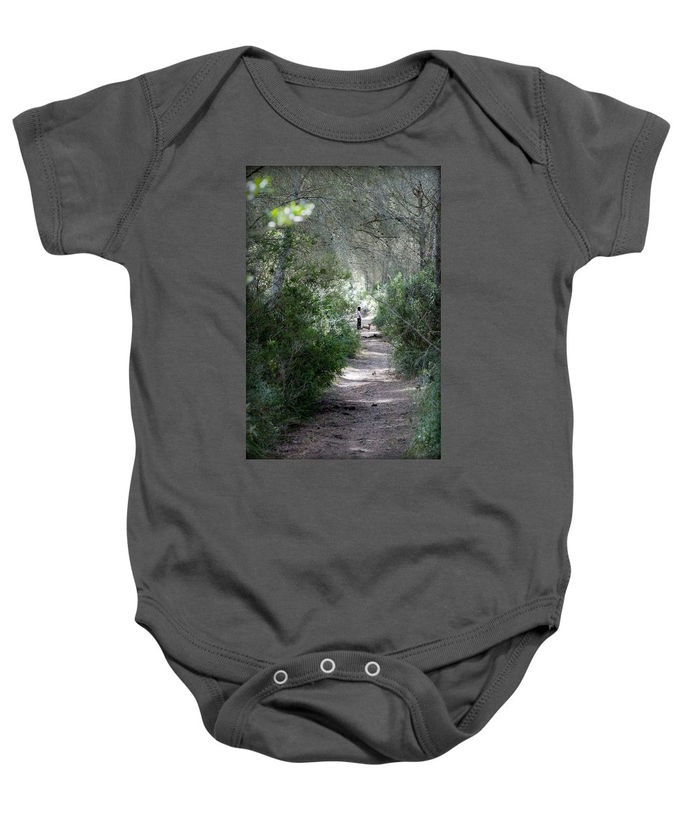 Menorca Baby Onesie featuring the photograph a walk about fairy wood - Mediterranean autumn forest by Pedro Cardona Llambias