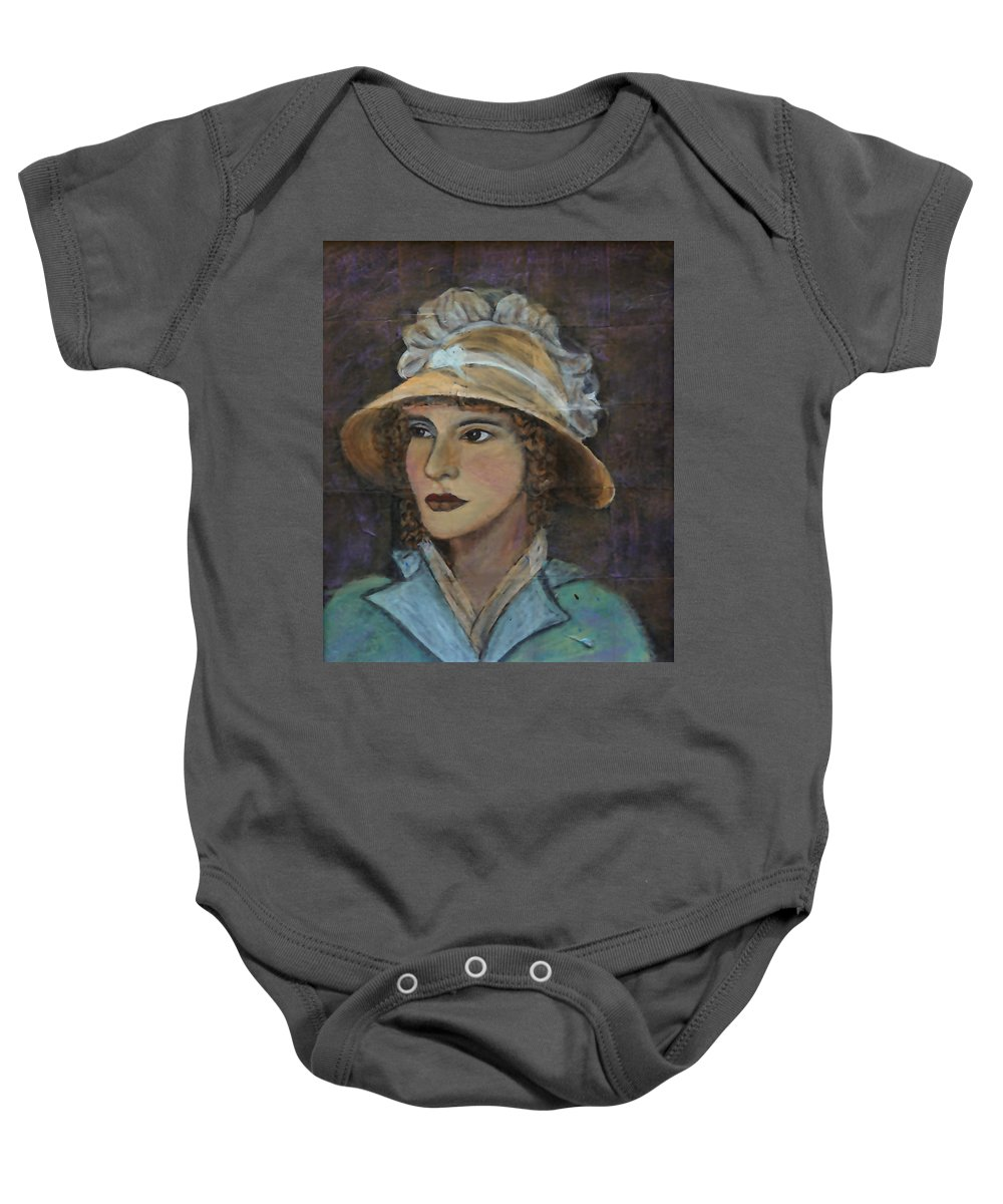 Lady In Hat Series Baby Onesie featuring the painting Abigail by The Art With A Heart By Charlotte Phillips