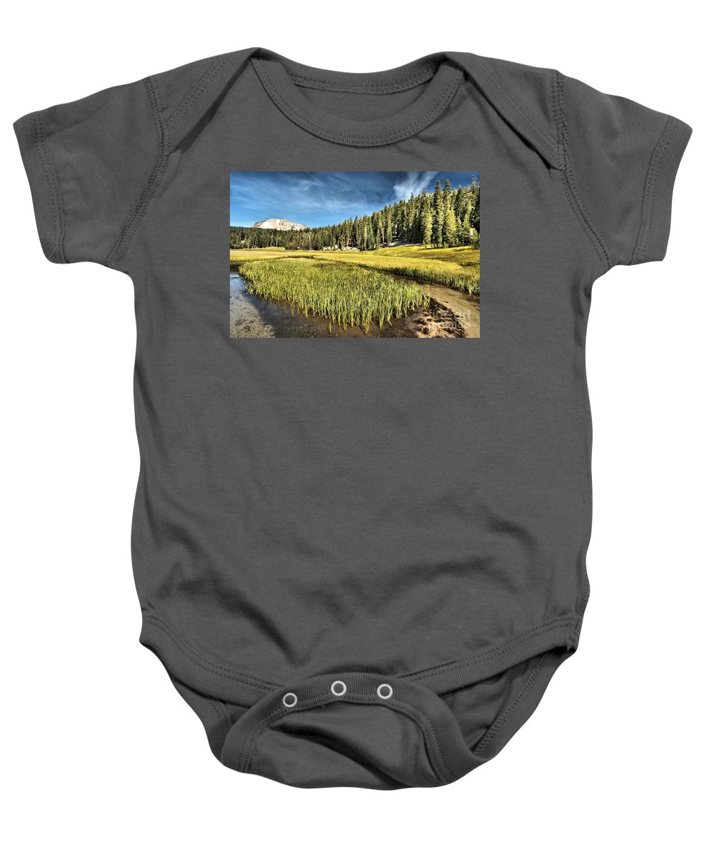 Lassen Baby Onesie featuring the photograph Across The Meadow by Adam Jewell