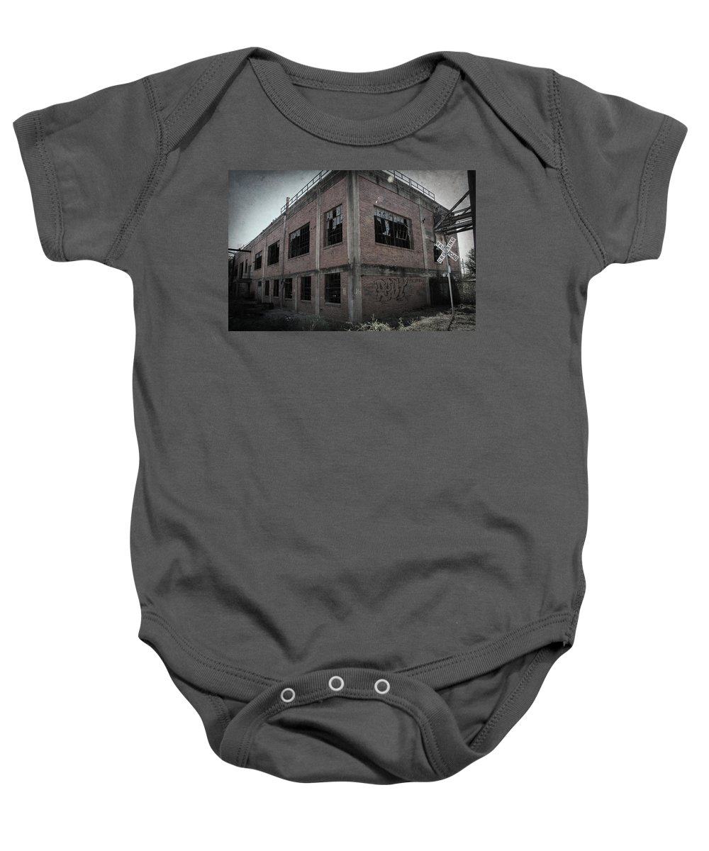 Urban Exploration Baby Onesie featuring the photograph Across The Tracks by April Davis