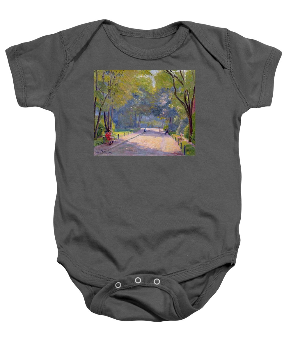 Landscape; Urban Life; Shadows Baby Onesie featuring the painting Afternoon In The Park by Hippolyte Petitjean