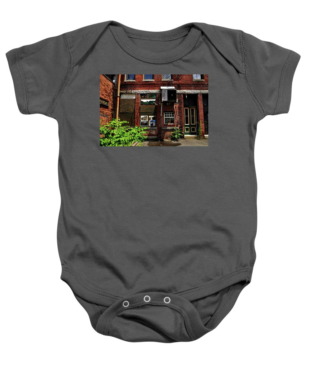 Alley Life And Art Baby Onesie featuring the photograph Alley Life And Art by Mark Valentine