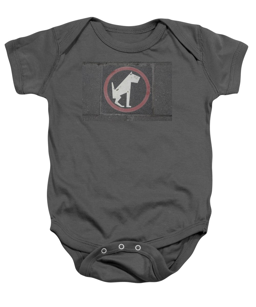 Sidewalk Baby Onesie featuring the photograph Allowed In Designated Area by Donato Iannuzzi