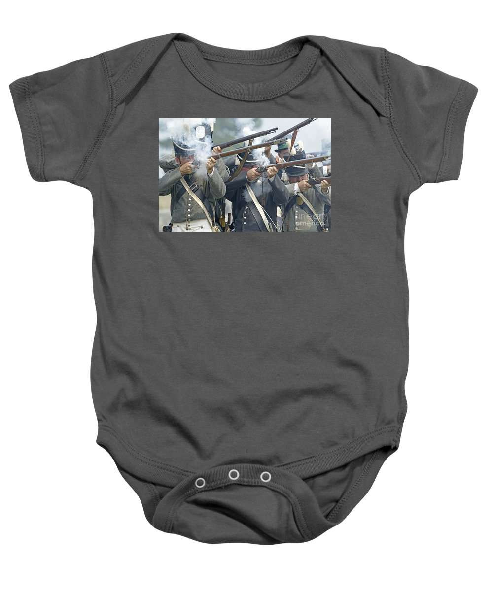 War Of 1812 Baby Onesie featuring the photograph American Infantry Firing by JT Lewis