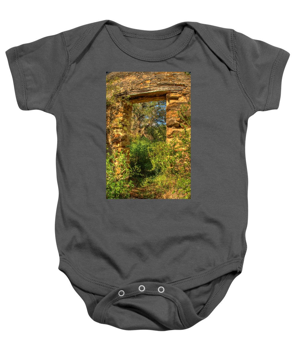 Stone Baby Onesie featuring the photograph Ancient Doorway by Beth Gates-Sully