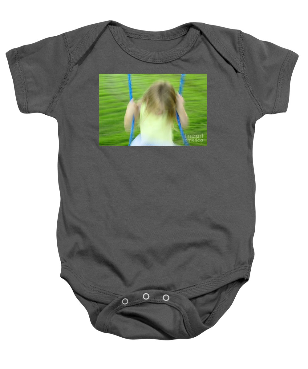 Girl Baby Onesie featuring the photograph Angel Swing by Aimelle