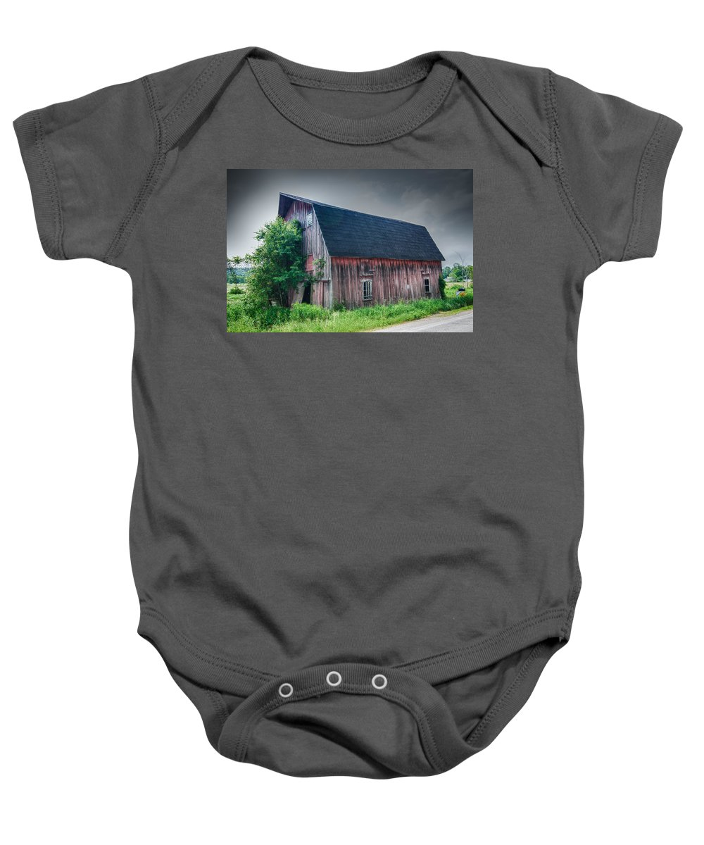 Angelica Baby Onesie featuring the photograph Angelica Barn In Hdr by Guy Whiteley