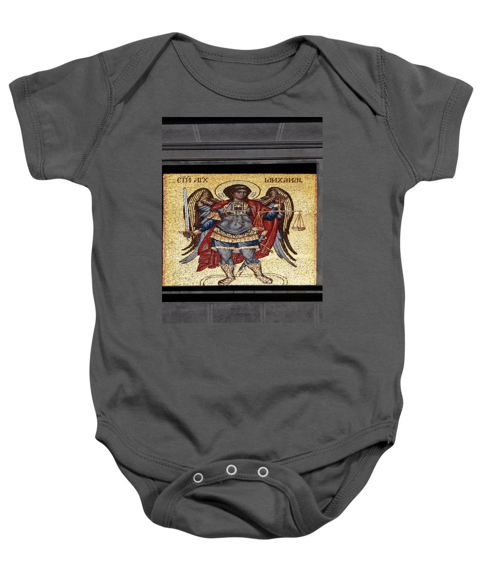 Mosaic Baby Onesie featuring the photograph Archangel Michael Mosaic by Sally Weigand