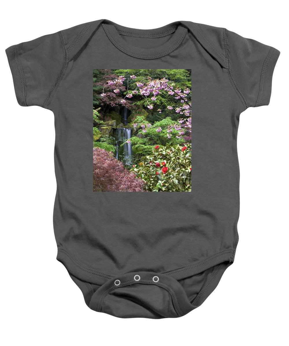 Spring Baby Onesie featuring the photograph Arching Cherry Blossoms by Jean Hildebrant