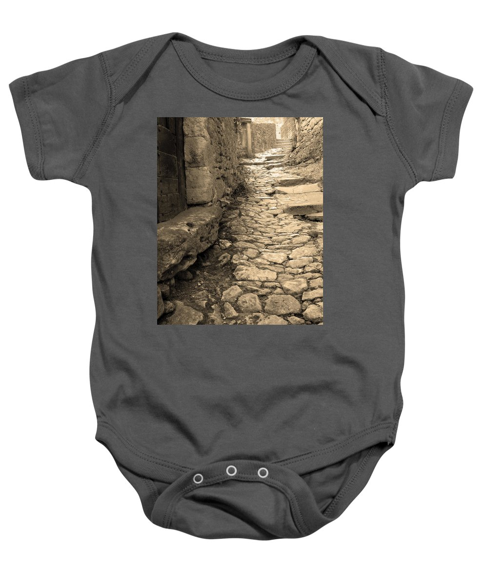 Stone Steps Baby Onesie featuring the photograph Ascent In Beynac France by Greg Matchick
