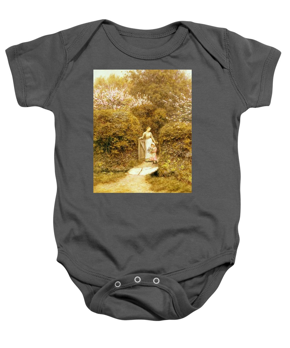 At The Cottage Gate Baby Onesie featuring the painting At The Cottage Gate by Helen Allingham