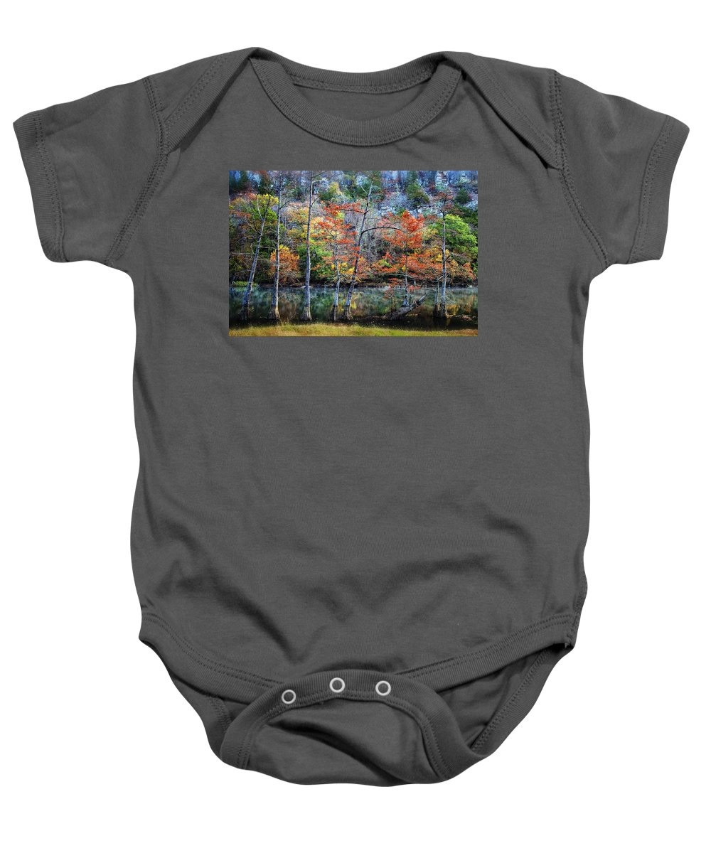 Trees Baby Onesie featuring the photograph Autumn At Beaver's Bend by Tamyra Ayles