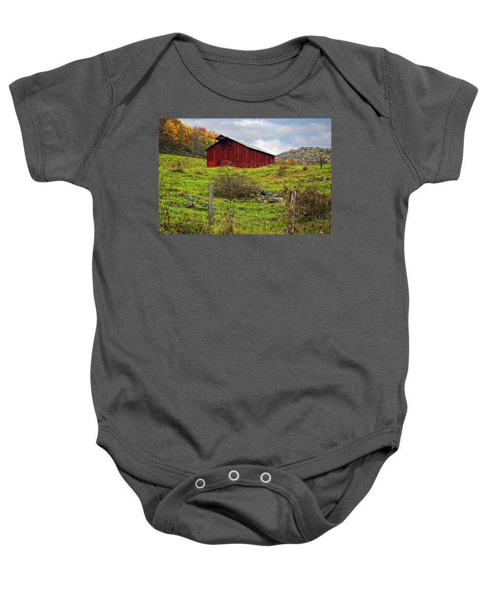 West Virginia Baby Onesie featuring the photograph Autumn Barn by Steve Harrington