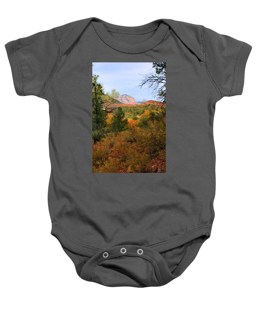 Red Rock Baby Onesie featuring the photograph Autumn In Red Rock Canyon by Kristin Elmquist