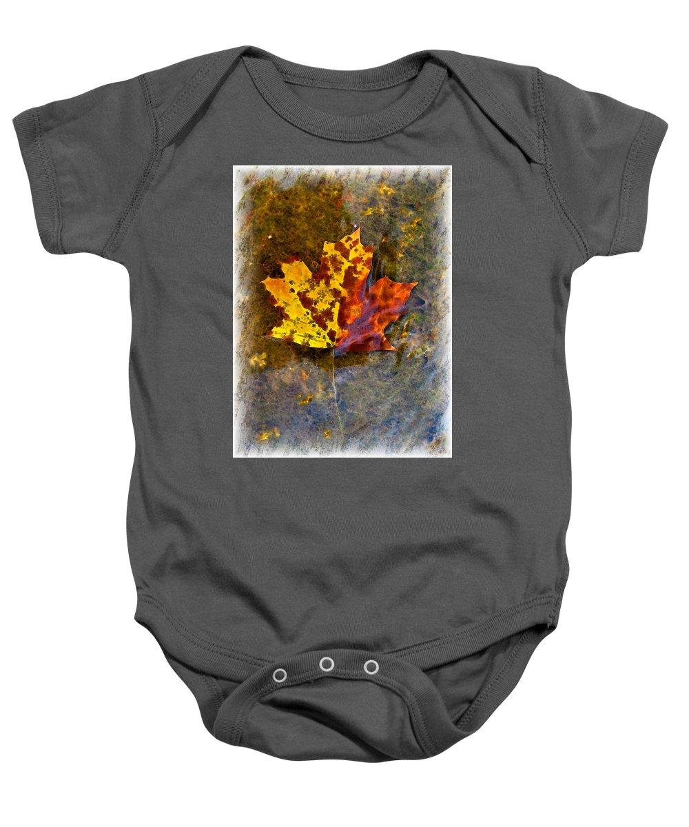 Botanical Baby Onesie featuring the digital art Autumn Maple Leaf In Water by Debbie Portwood