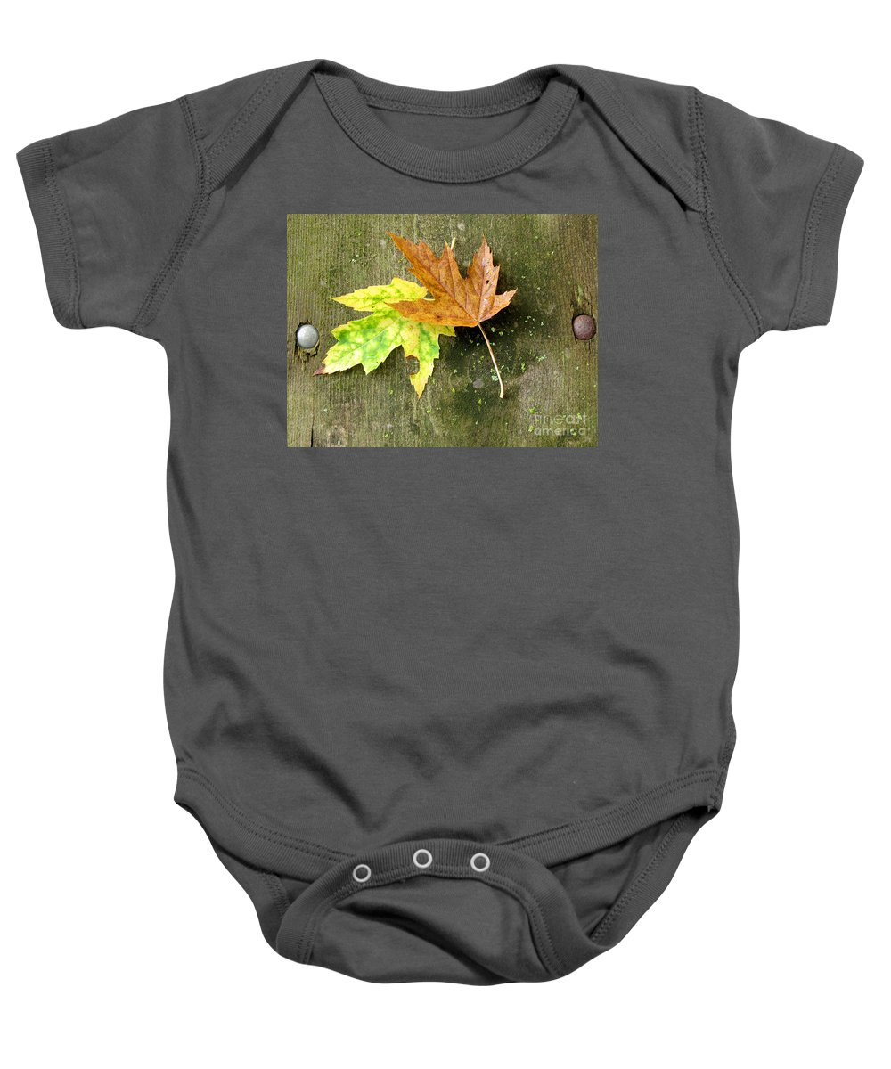 Autumn Leaves Baby Onesie featuring the photograph Autumn Pair by Marilyn Smith
