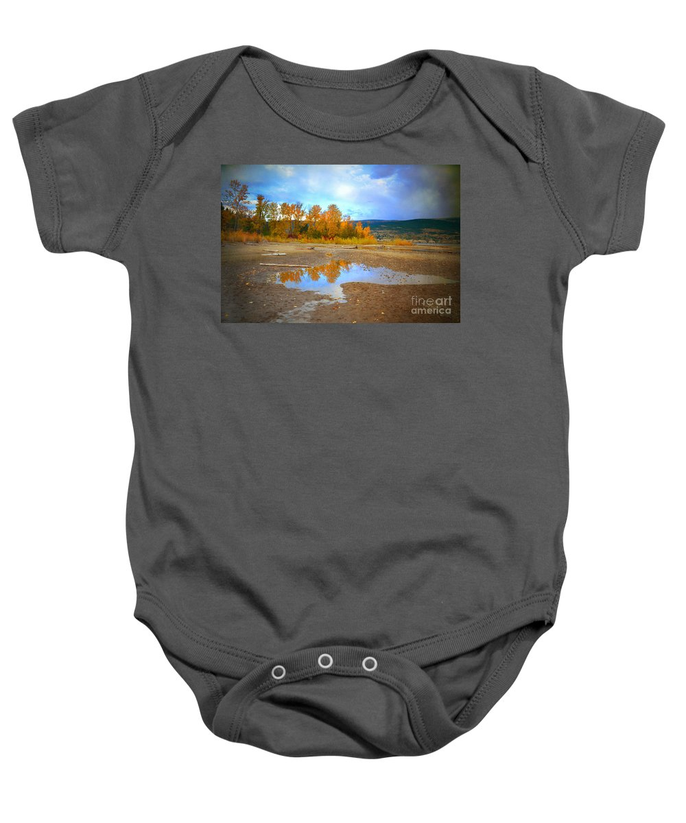 Autumn Baby Onesie featuring the photograph Autumn Puddles by Tara Turner