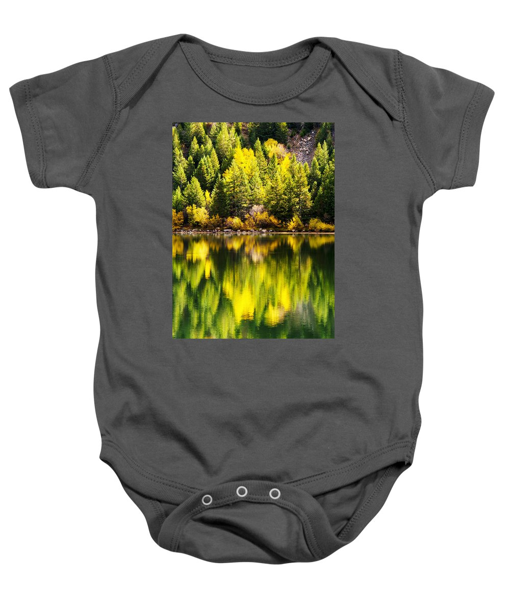 Aspen Baby Onesie featuring the photograph Autumn Reflection In Georgetown Lake Colorado by Beth Riser