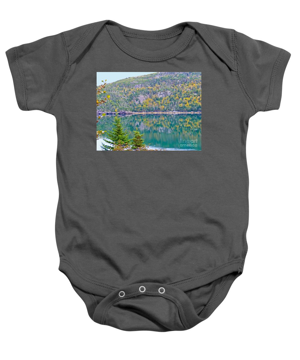 Autumn Baby Onesie featuring the photograph Autumn Reflections by Barbara Griffin