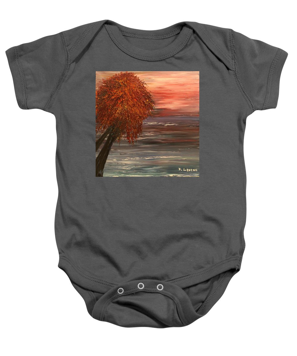 Tree Baby Onesie featuring the painting Autumn Sky by Debbie Levene