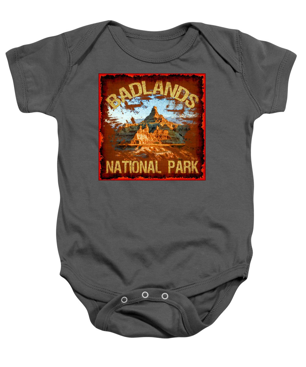 Badlands Baby Onesie featuring the photograph Badlands National Park by David G Paul