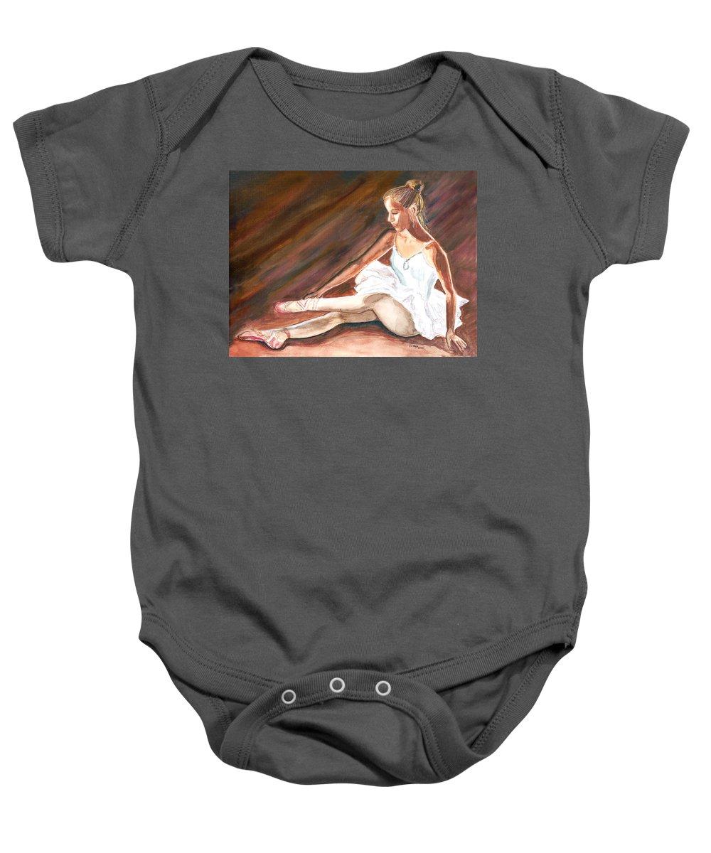 Dancer Baby Onesie featuring the painting Ballet Dancer by Clara Sue Beym