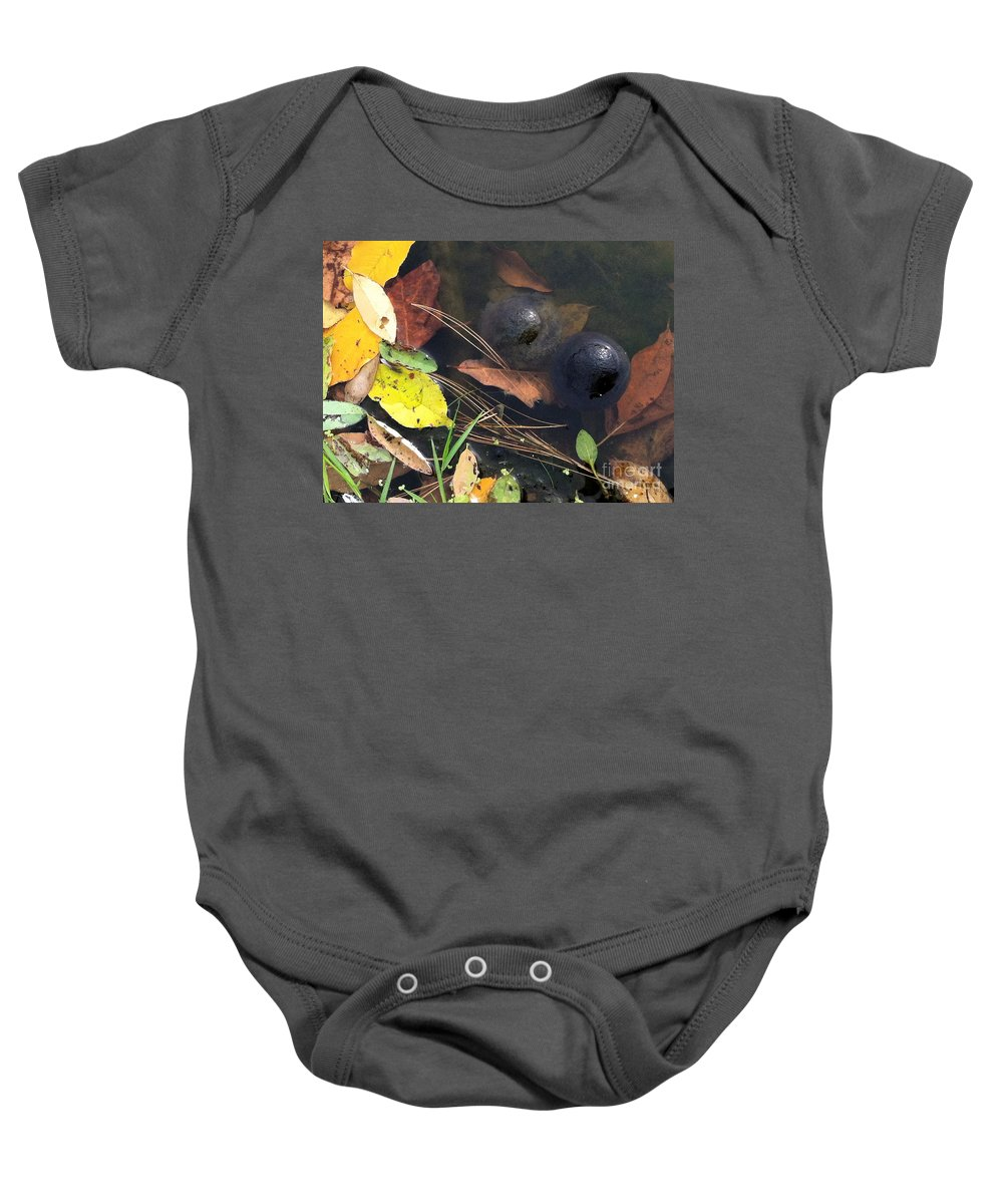 Leaves Baby Onesie featuring the photograph Balls In Your Corner by Trish Hale