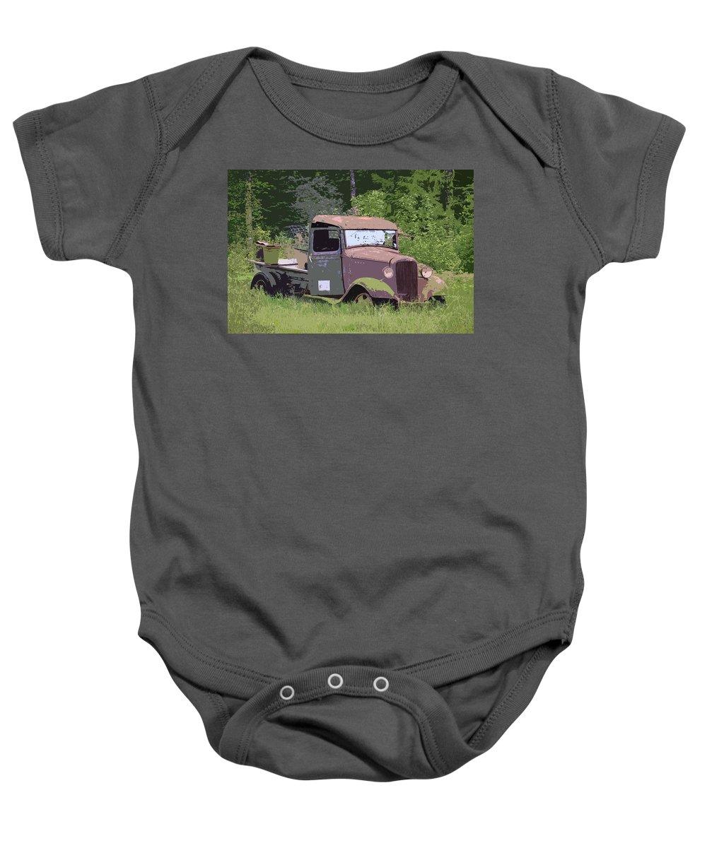 Chevy Truck Baby Onesie featuring the photograph Barn Fresh Pickup by Steve McKinzie