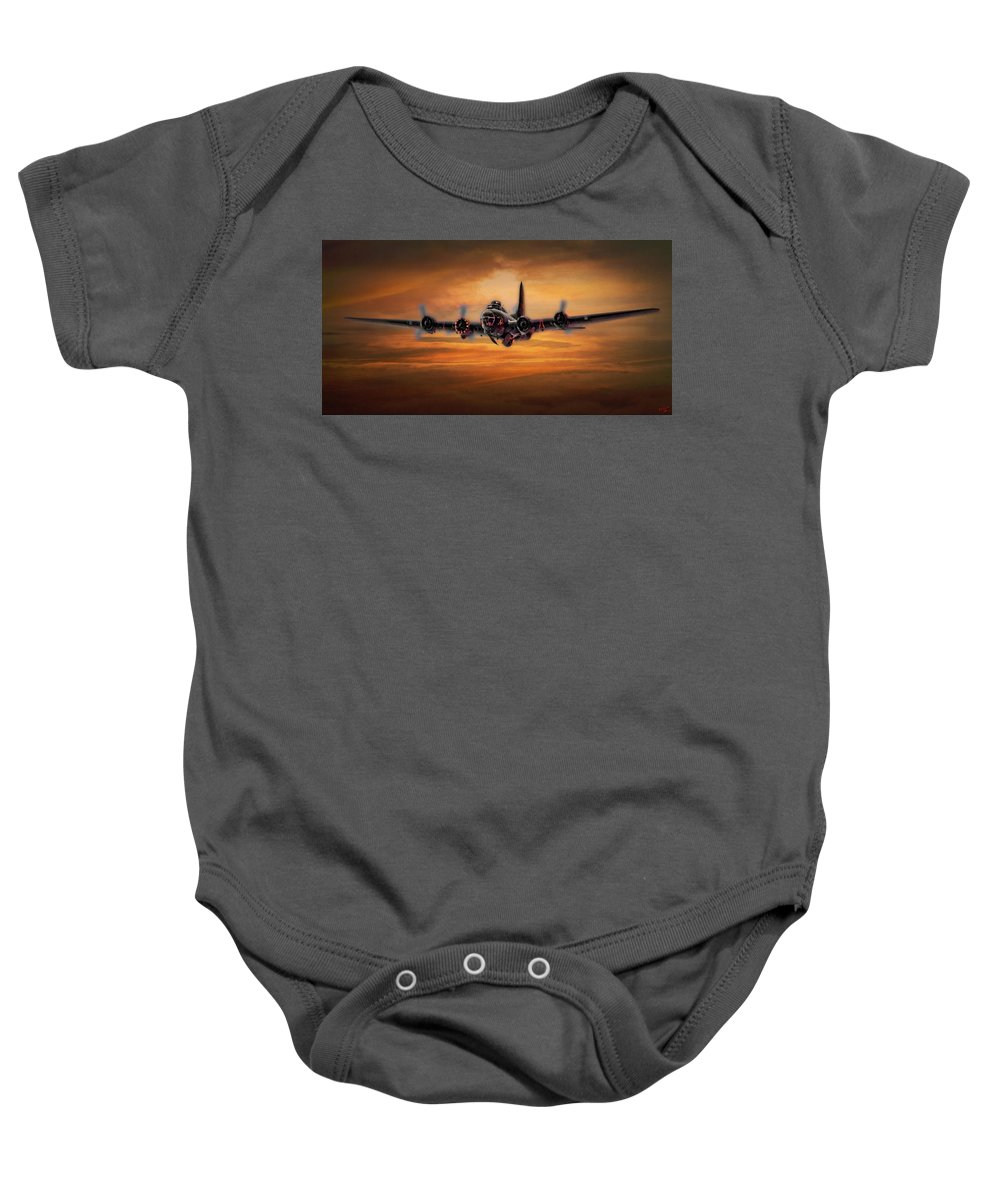 Aviation Baby Onesie featuring the photograph Battle Scarred But Heading Home by Chris Lord