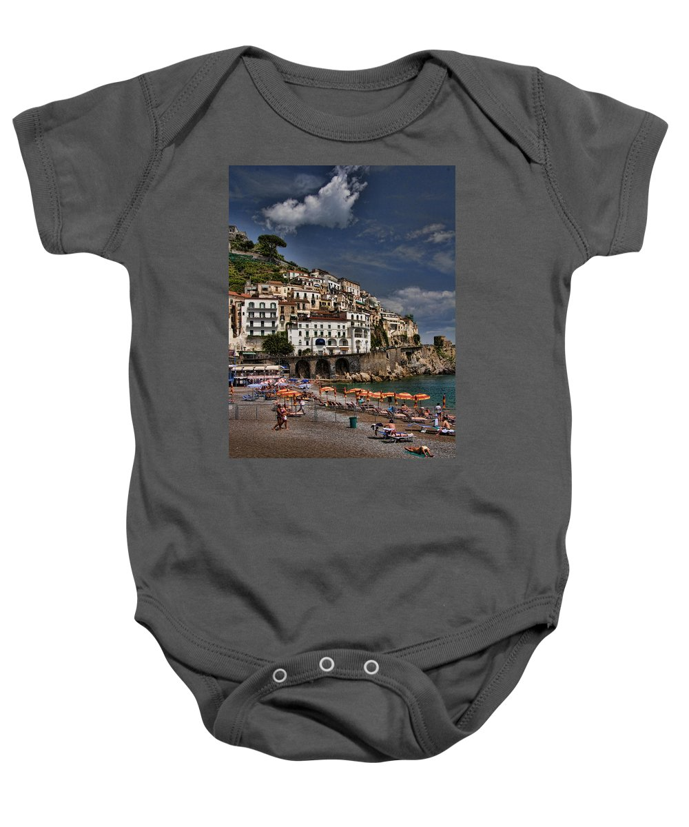 Mediterranean Collection Baby Onesie featuring the photograph Beach Scene In Amalfi On The Amalfi Coast In Italy by David Smith