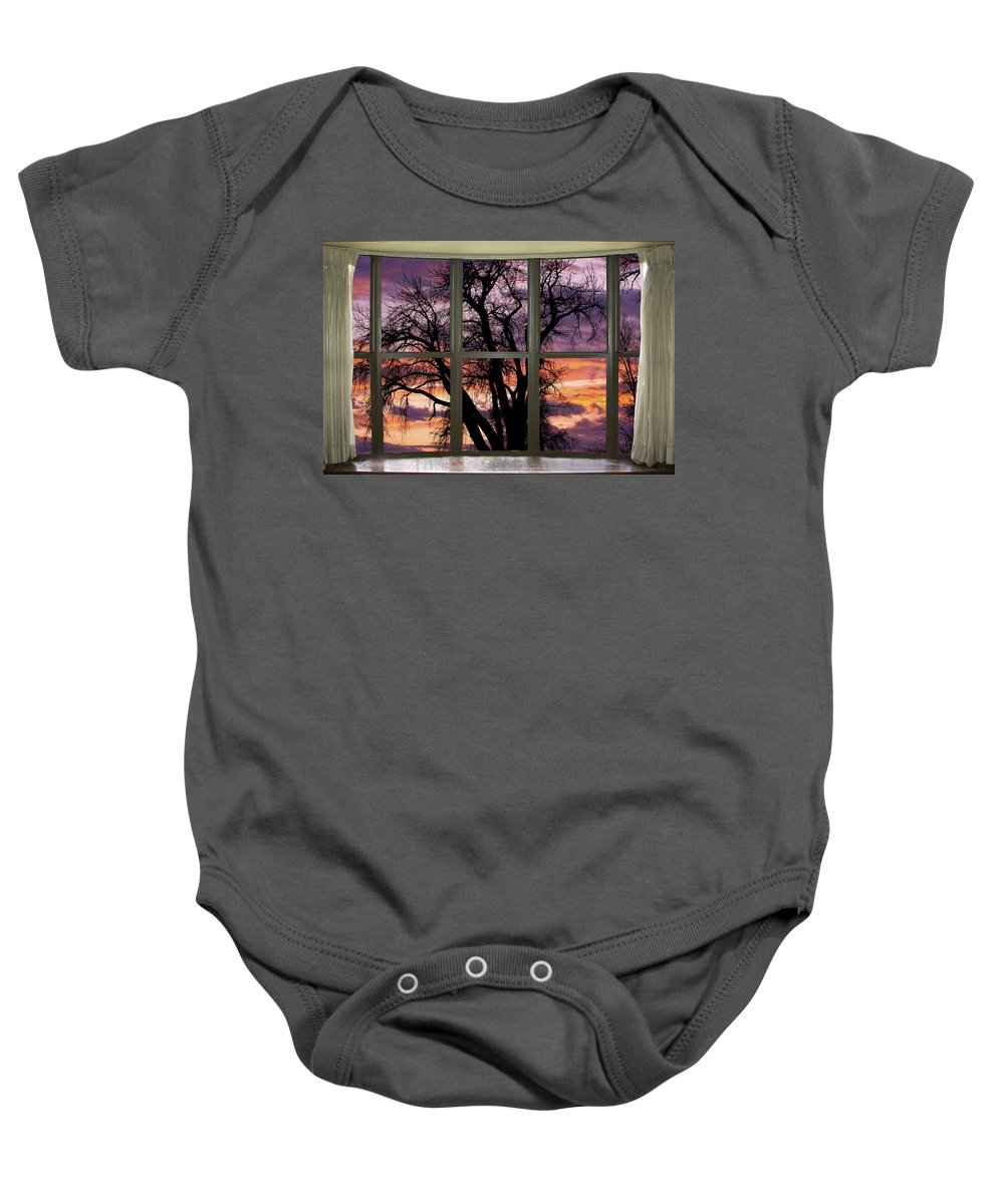Window Baby Onesie featuring the photograph Beautiful Sunset Bay Window View by James BO Insogna