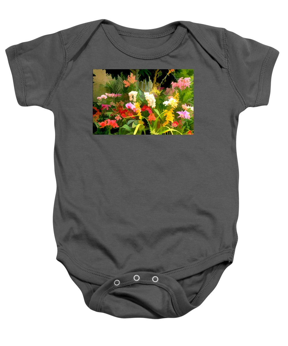 Flower Flowers Garden Orchids Orchid Tropical Flora Floral Nature Natural Baby Onesie featuring the painting Bed Of Orchids by Elaine Plesser