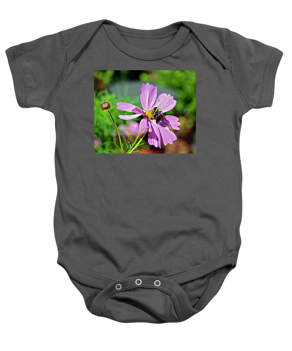 Insect Baby Onesie featuring the photograph Bee On Flower by Susan Leggett