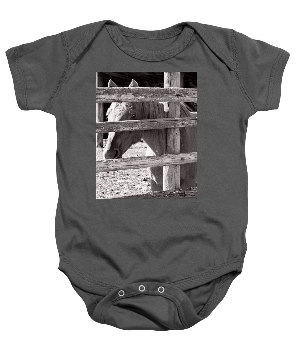 Cautious Baby Onesie featuring the photograph Being Cautious by Marilyn Hunt