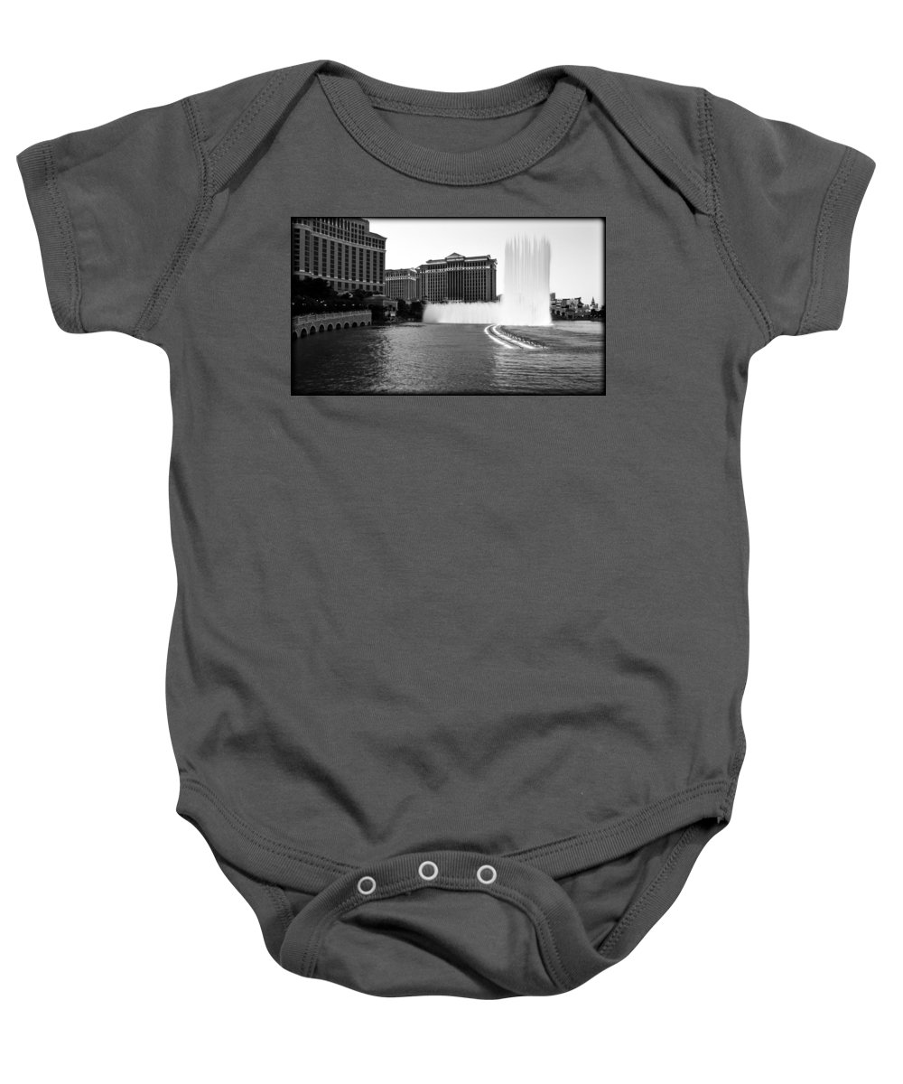 America Baby Onesie featuring the photograph Bellagio Fountains by Ricky Barnard