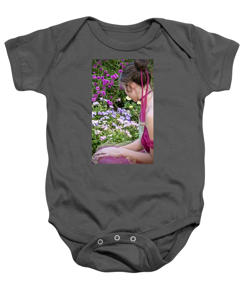 Girl Baby Onesie featuring the photograph Belle In The Garden by Angelina Vick