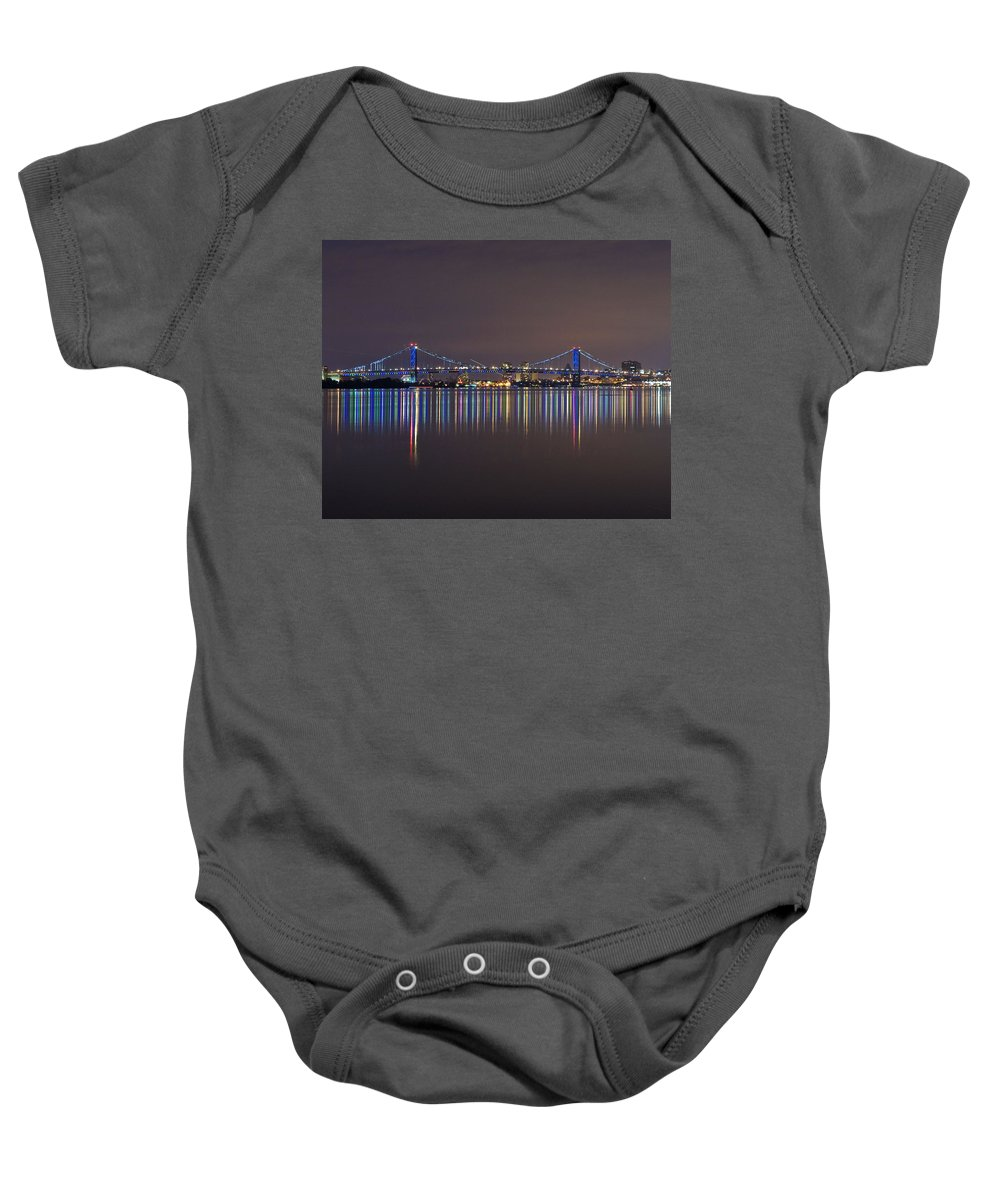 Benjamin Franklin Baby Onesie featuring the pyrography Benjamin Franklin Bridge by Conor McLaughlin