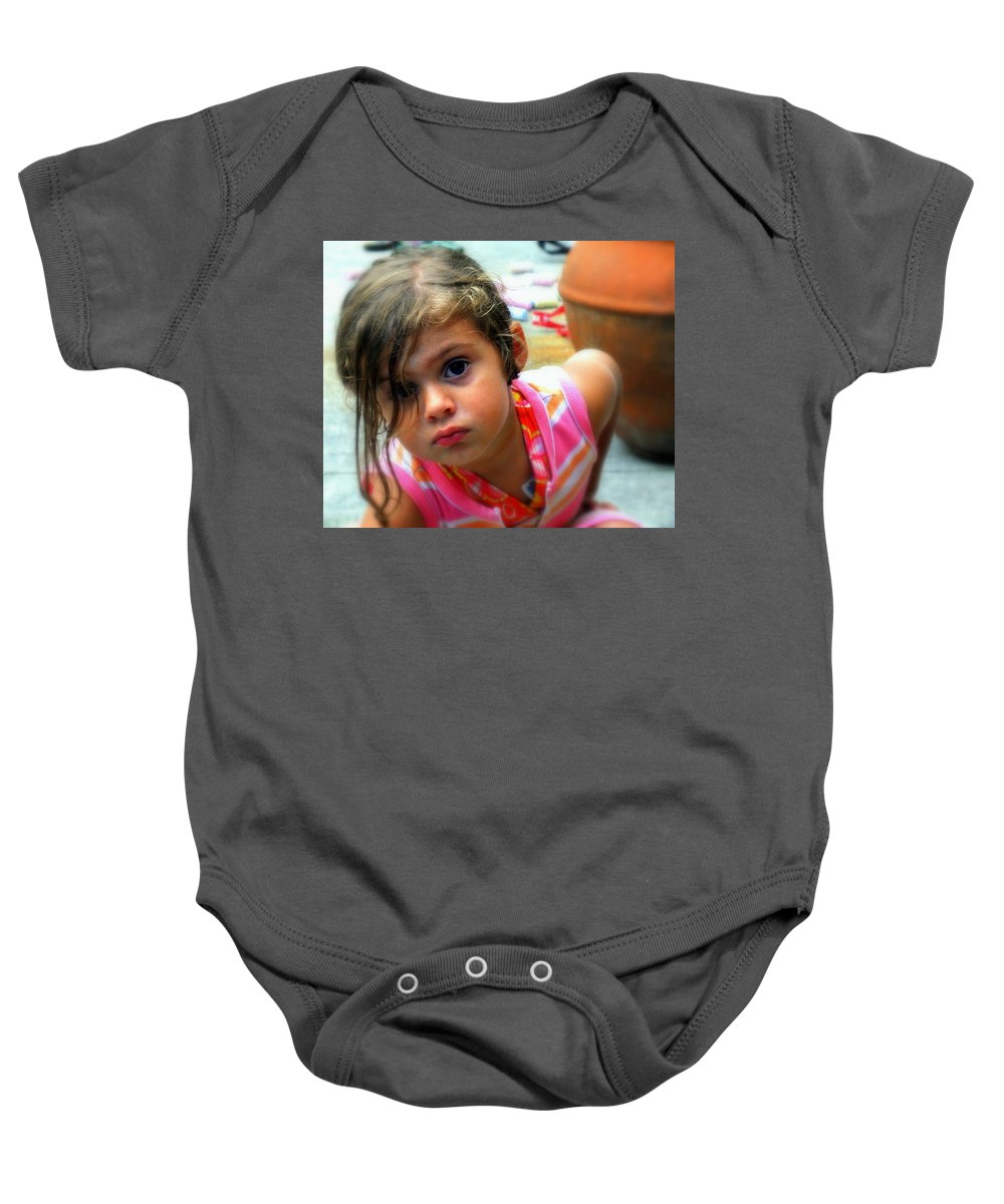 Portraits Baby Onesie featuring the photograph Big Brown Eyes by Karen Wiles
