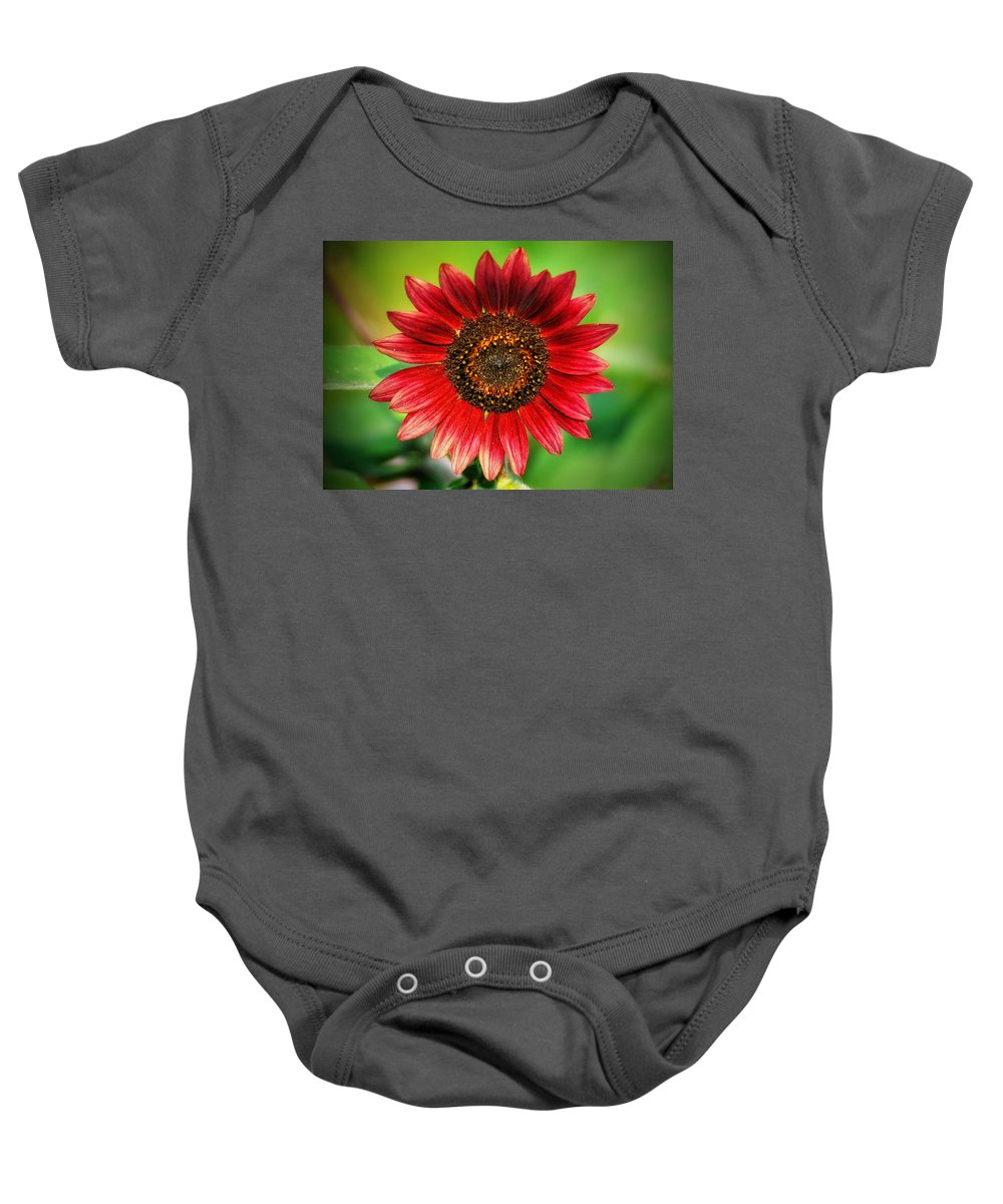 Sunflower Baby Onesie featuring the photograph Big Red by Bill Cannon
